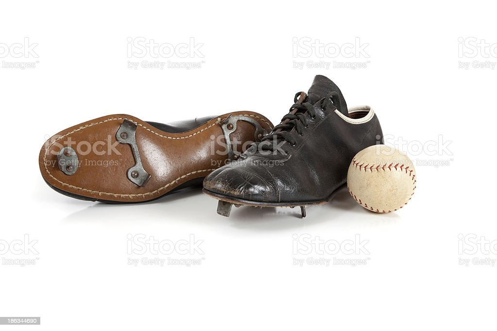 Baseball cleats on a white royalty-free stock photo
