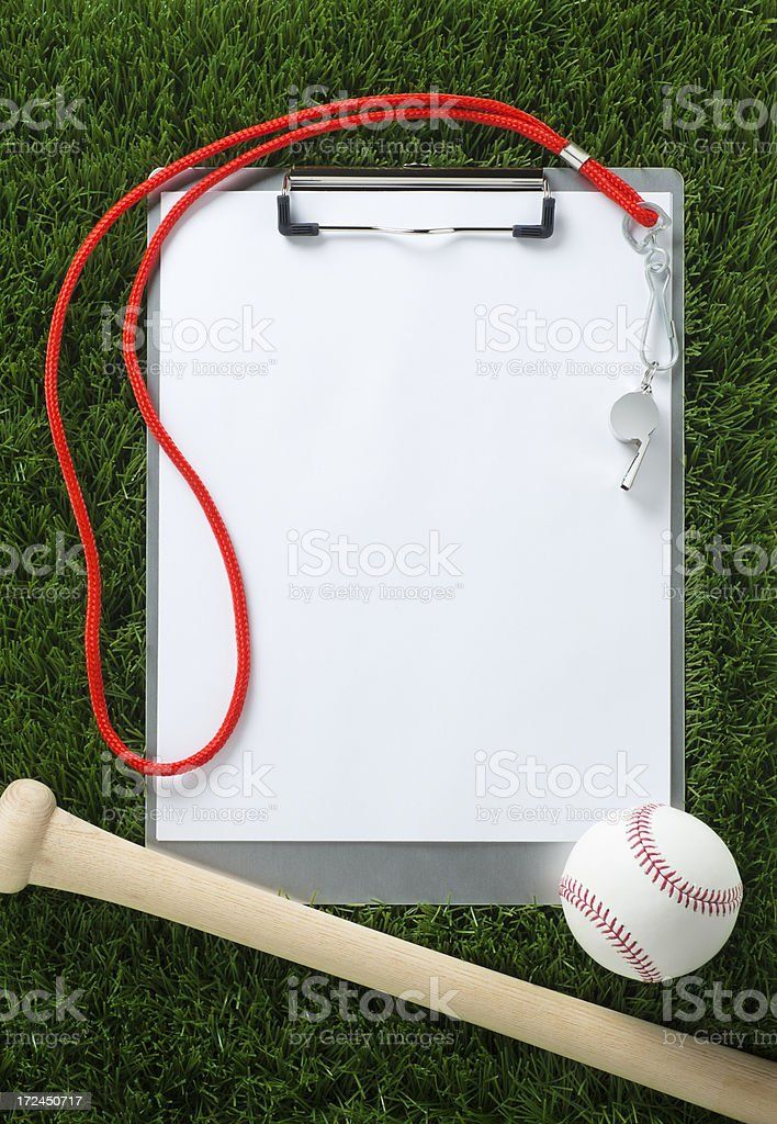 Baseball Clipboard on the Grass royalty-free stock photo