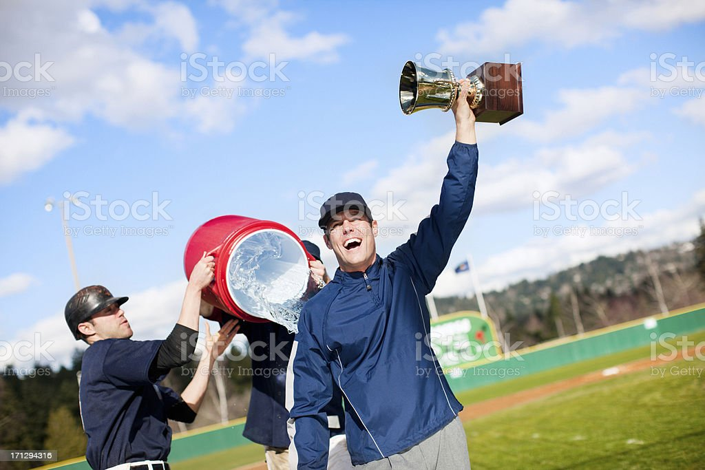 Baseball Coach Getting Gatorade Shower stock photo