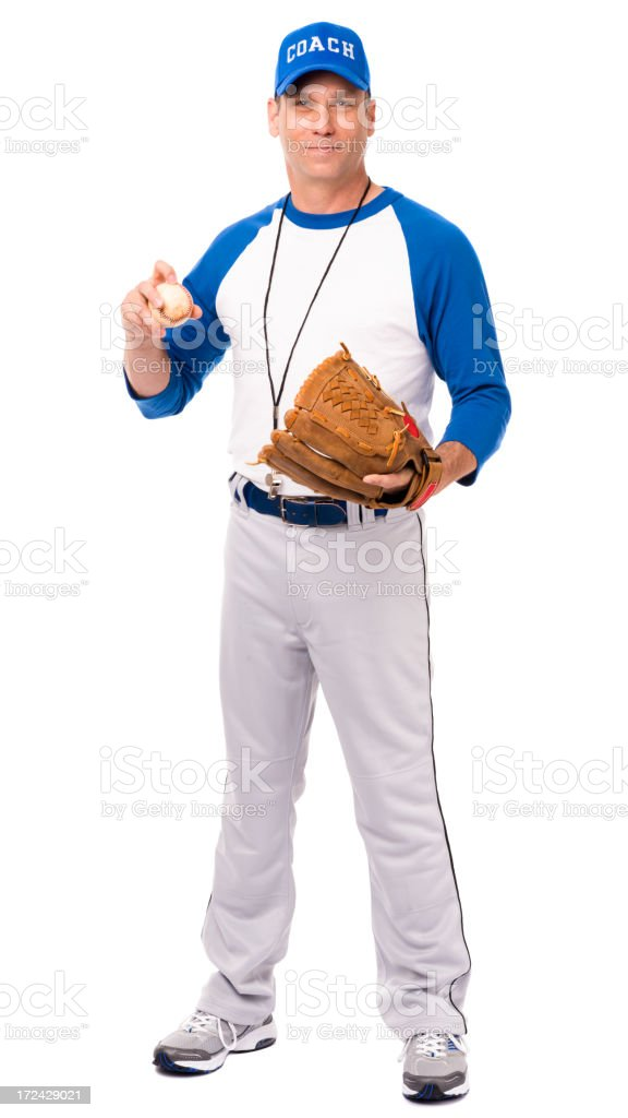 Baseball Coach with Glove and Ball Isolated on White Background royalty-free stock photo