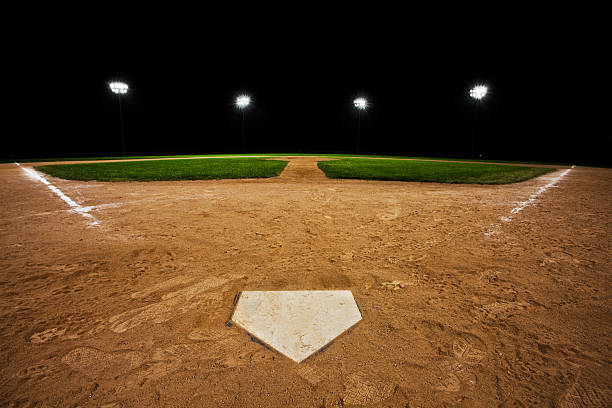 Baseball diamond at night  infield stock pictures, royalty-free photos & images