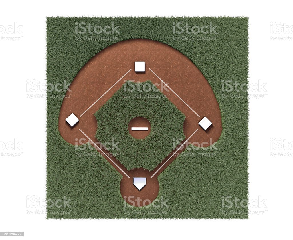 Baseball Diamond on White Background stock photo
