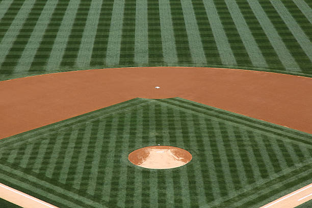 Baseball Diamond View of a baseball diamond infield stock pictures, royalty-free photos & images