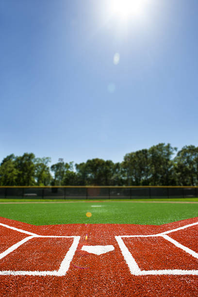 Baseball Diamond View from behind Home base of a Baseball diamond for little league. Artificial turf. baseball diamond stock pictures, royalty-free photos & images