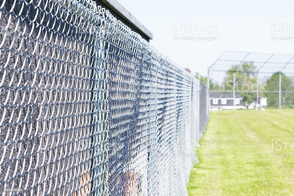 Baseball Diamond Playing Field Chainlink Fence Boundary stock photo