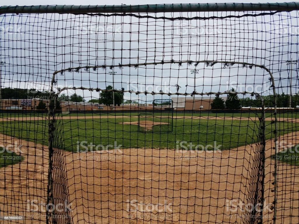 baseball diamond with safety nets stock photo