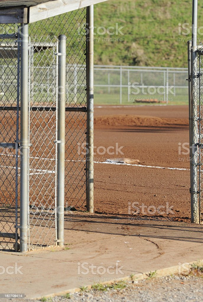 Baseball dugout and field entrance royalty-free stock photo