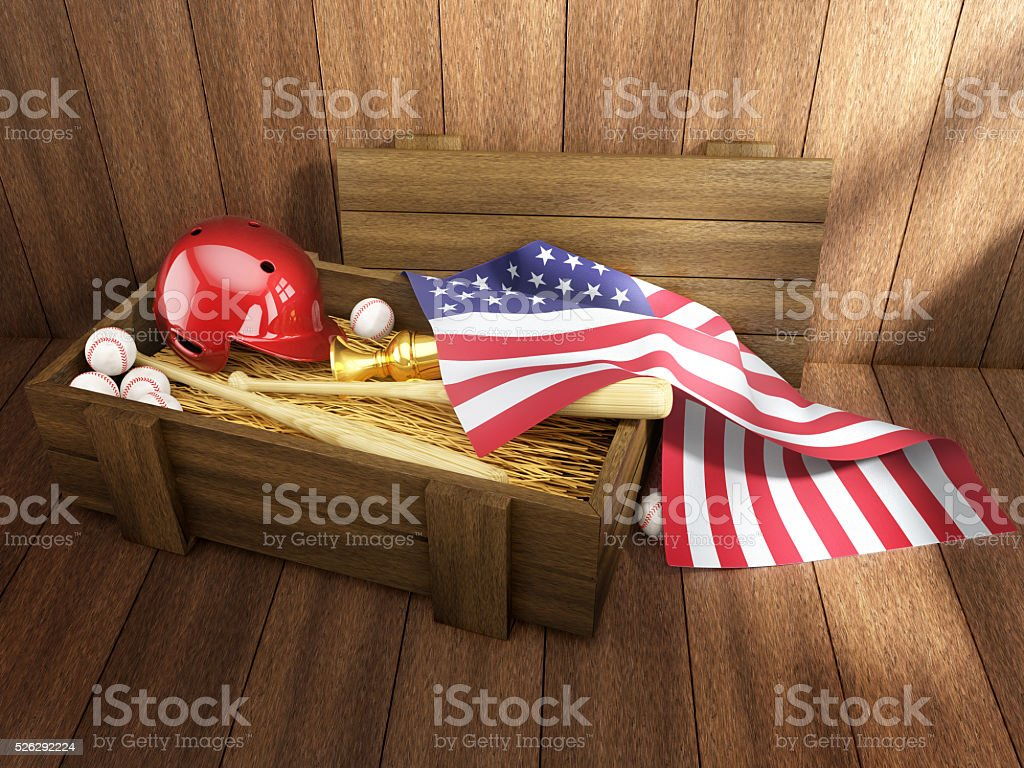 Baseball equipment in wooden crate in vintage rustic interior. stock photo