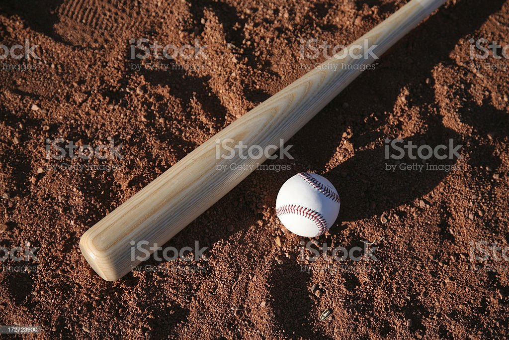 Baseball Equipment on field stock photo