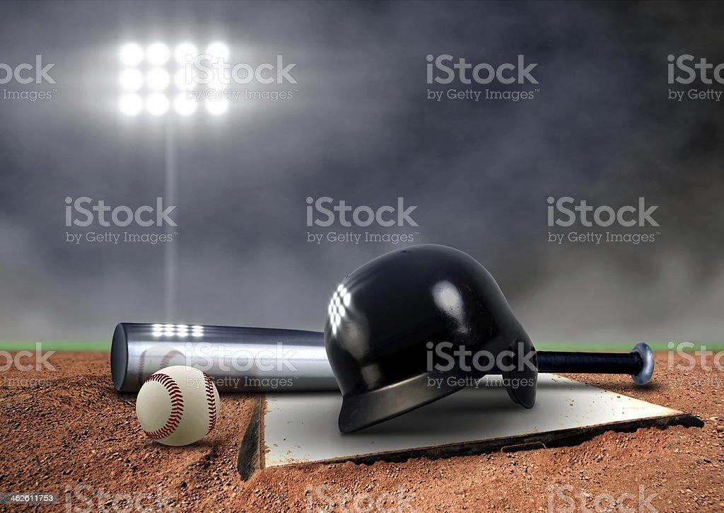 Baseball Equipment under spotlight stock photo