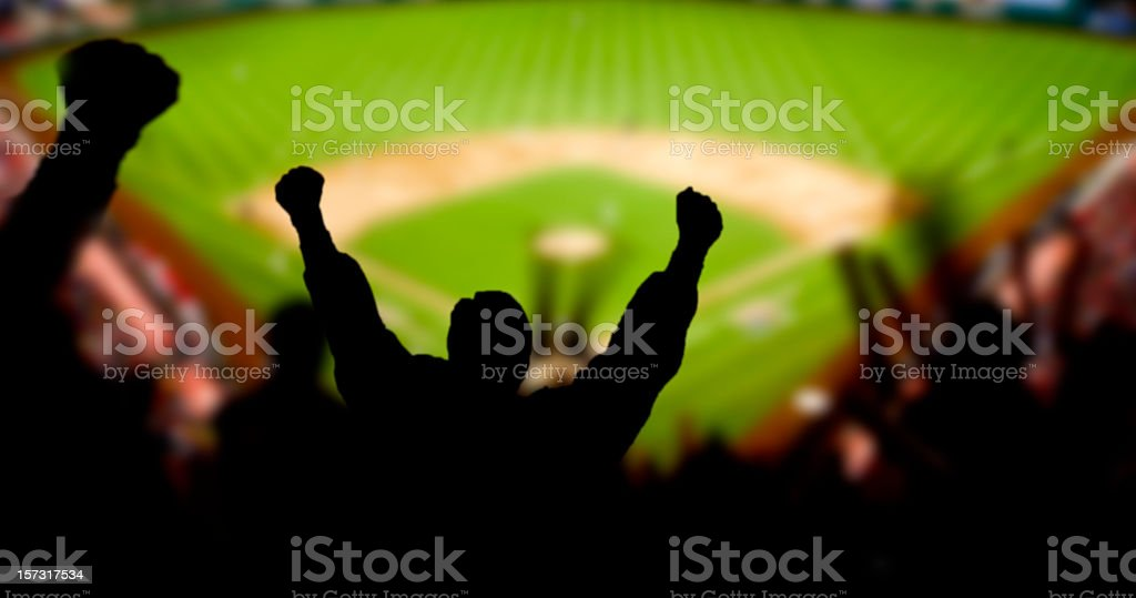 Baseball Excitement Fans excited at a baseball game Audience Stock Photo