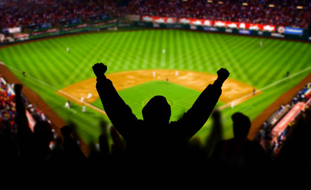 Baseball Fan Raising arms in Excitement A baseball fan raises his arms in celebration. The stadium is fictional. baseball sport stock pictures, royalty-free photos & images