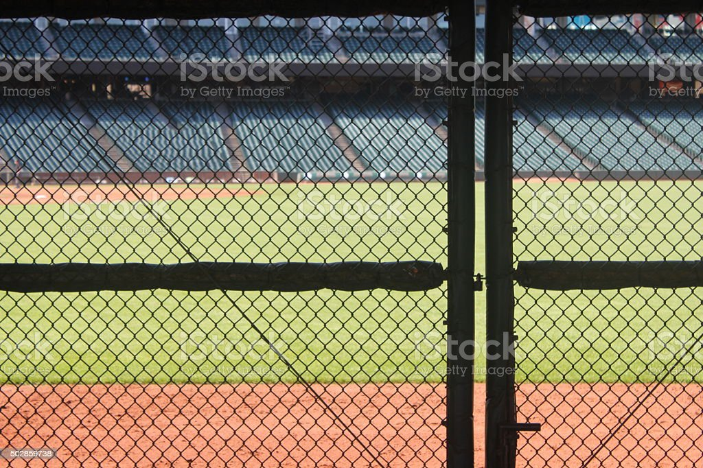 Baseball Field and Fence stock photo