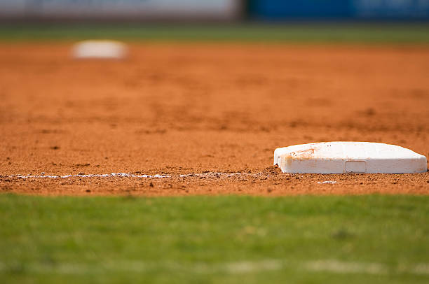 baseball field at a major league baseball game - softball stock photos and pictures