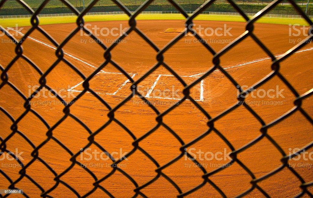 Baseball Field at Baseball Game at Park stock photo