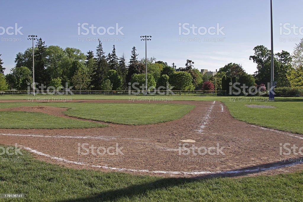 Baseball Field at Dusk royalty-free stock photo