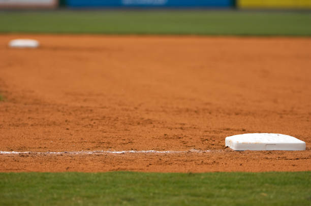 Baseball Field at Major League Baseball Game stock photo