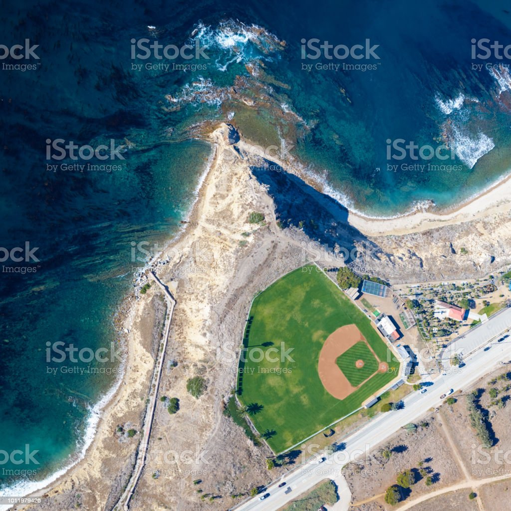 Baseball field by the ocean stock photo