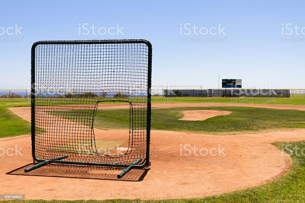 Baseball Field by the Pacific Ocean with a practice net stock photo