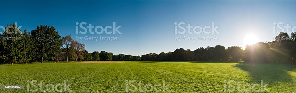 Baseball field dawn Central Park NY stock photo
