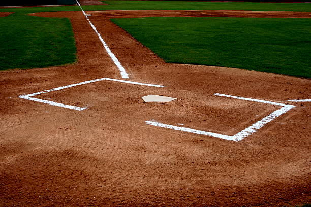 Baseball Field Diamond and Home Plate stock photo