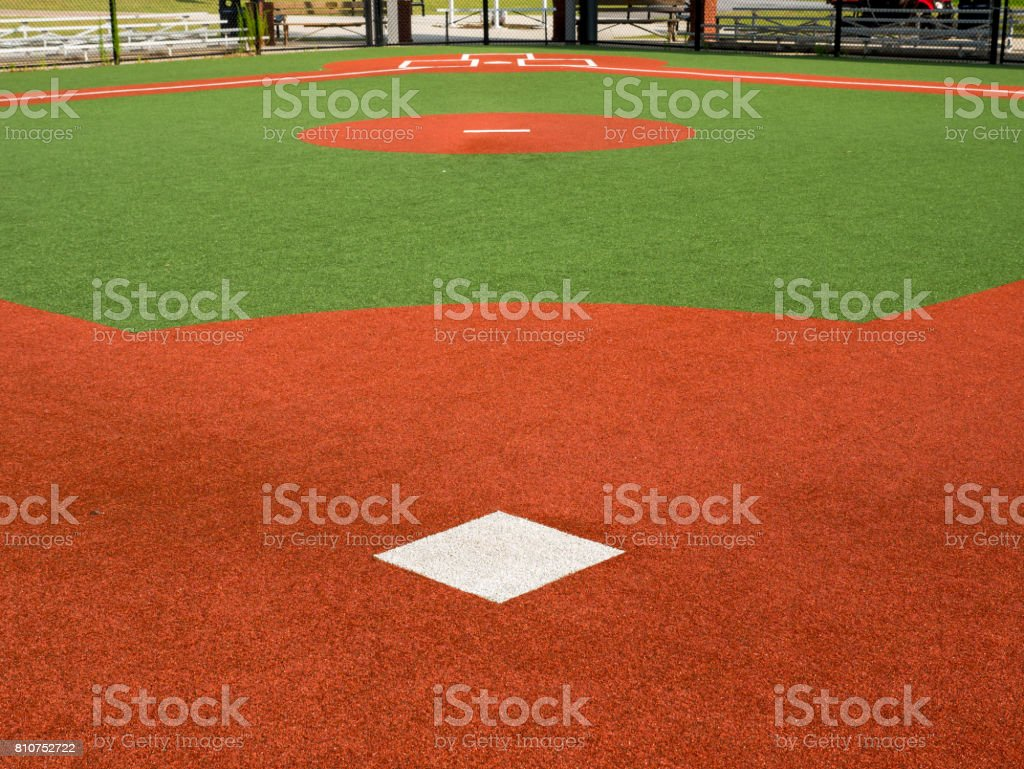 Baseball Field From Behind 2nd Base, Looking Toward Home Plate stock photo