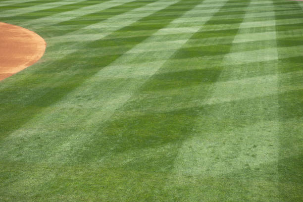 Baseball field grass cut in diamonds stock photo