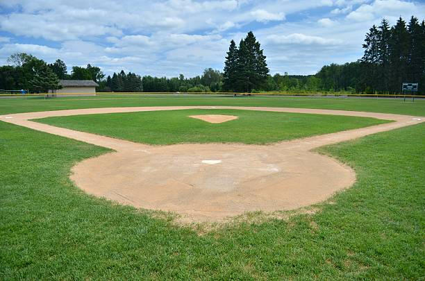 baseball field Baseball field on a summer day. baseball diamond stock pictures, royalty-free photos & images