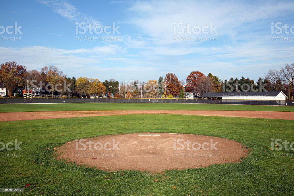 Baseball Field View From In Front Of Home Plate royalty-free stock photo