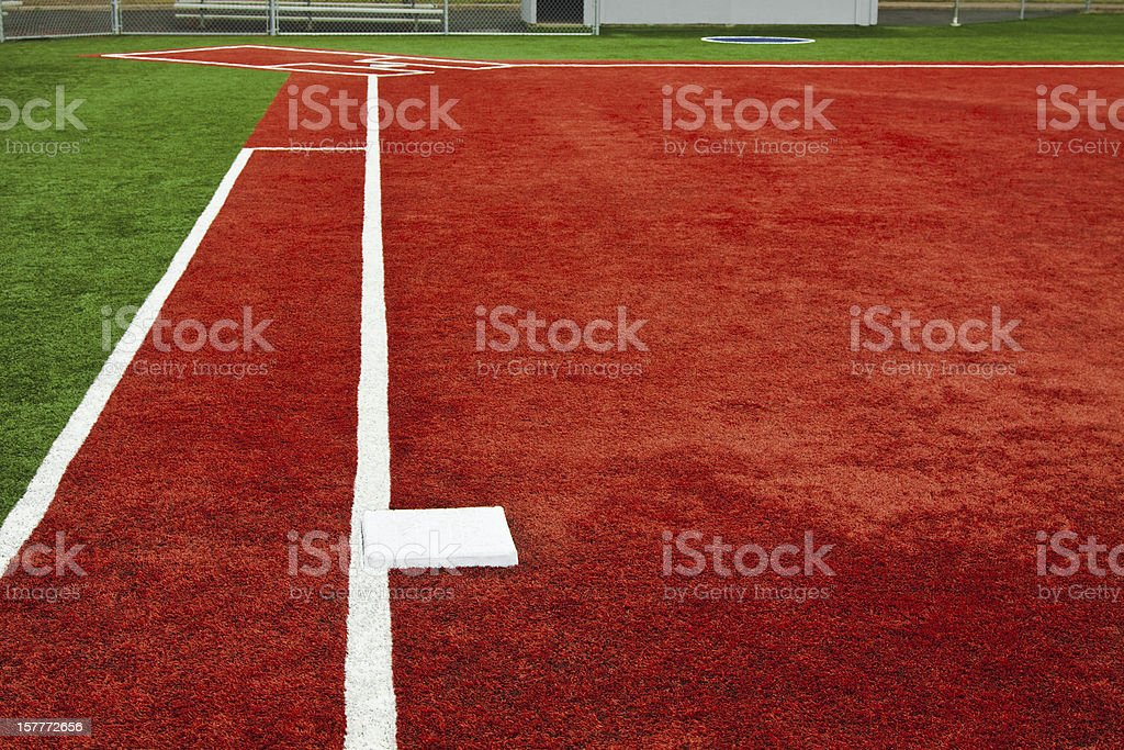 Baseball First Base Towards Home Plate stock photo