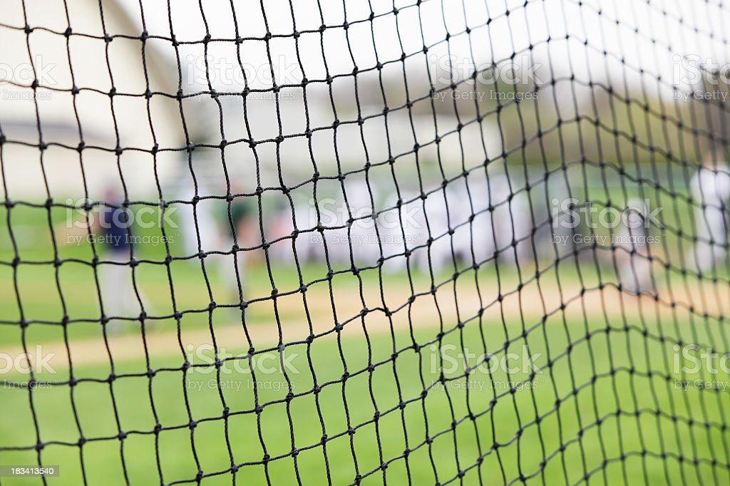 Baseball Game Beyond Abstract Safety Net stock photo