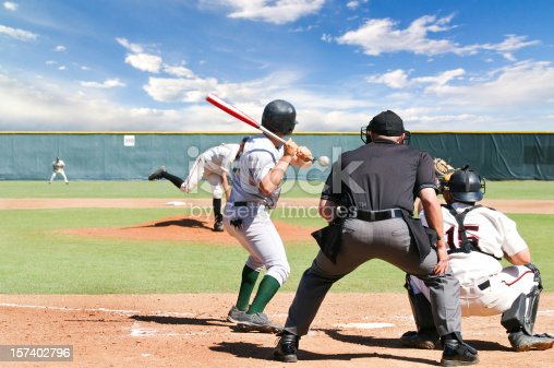 Spring Training Baseball scene. Pitch on its way with umpire, catcher, and batter waiting.