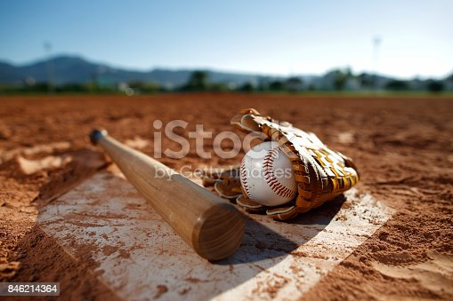 Baseball and glove Bat at Home Plate