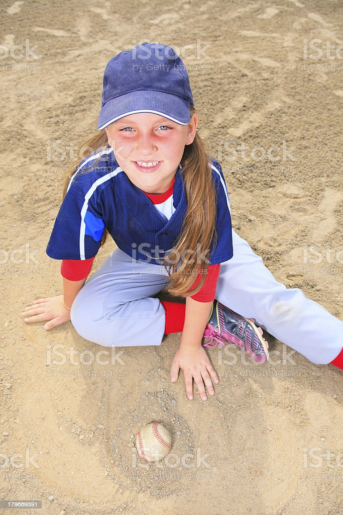 Baseball - Girl Ball Sit royalty-free stock photo