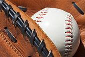 Baseball Glove and Ball close up