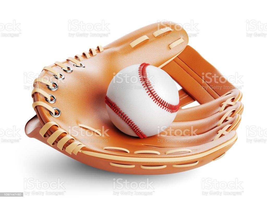 Baseball glove and ball closeup. stock photo