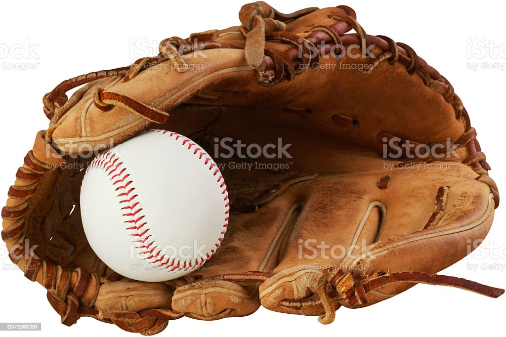 baseball glove and ball on a white background stock photo