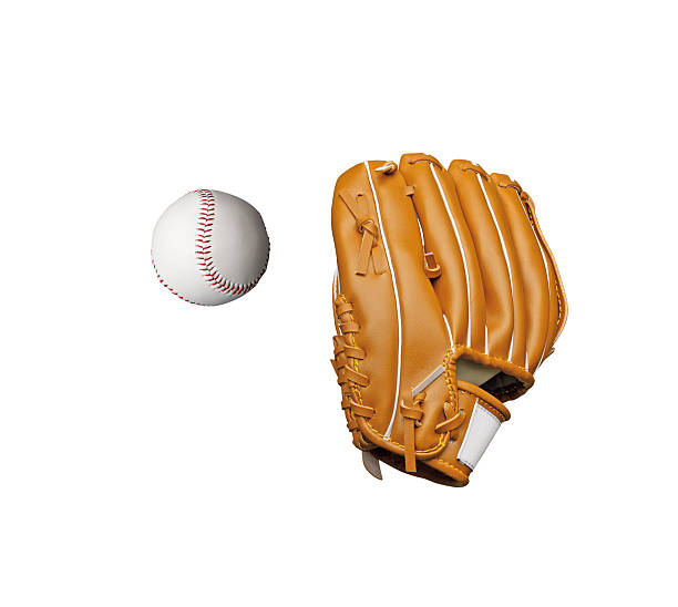 baseball glove and ball on white background stock photo