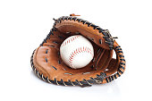 Baseball Glove and Ball isolated on white background
