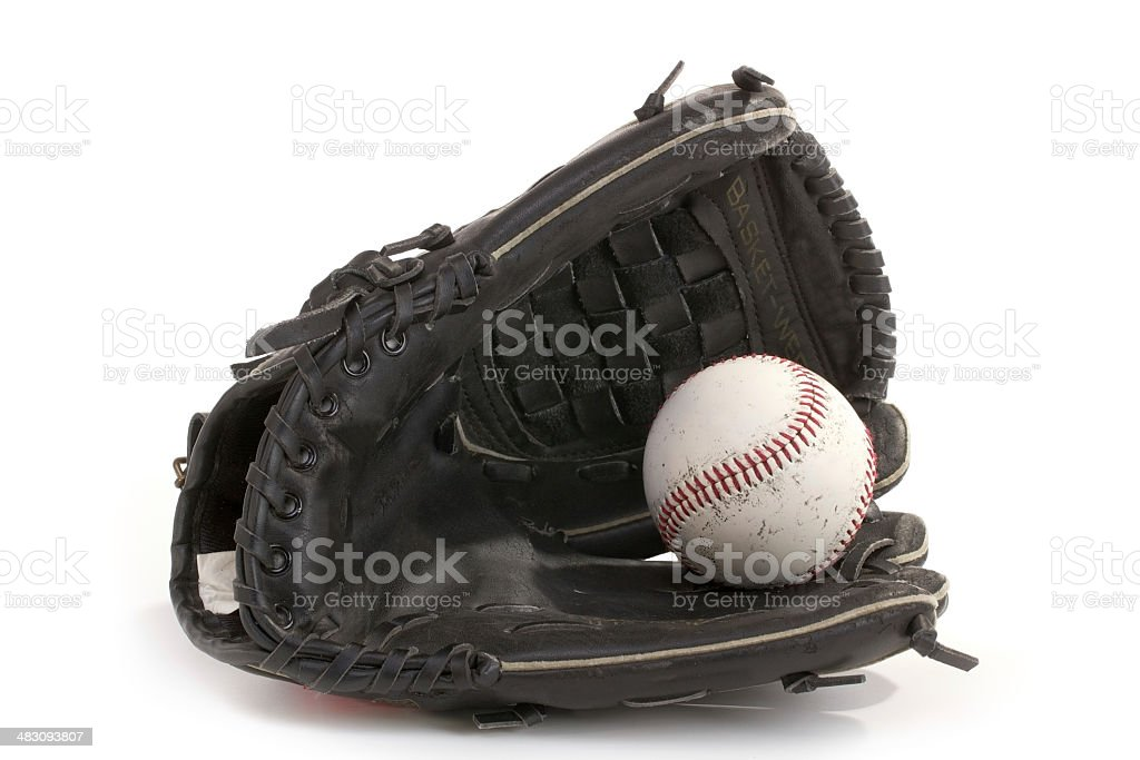 Baseball Glove and Ball with Clipping Path stock photo