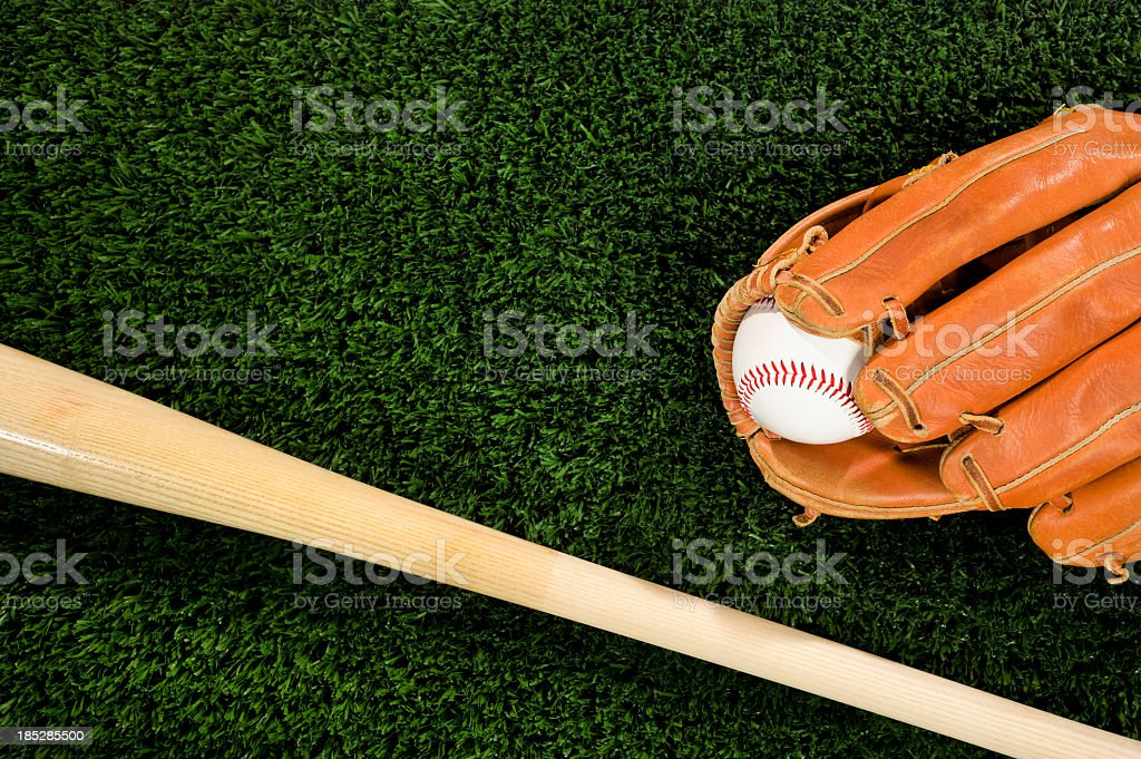 Baseball Glove and Bat stock photo