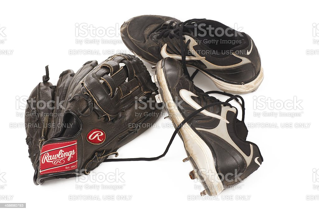 Baseball Glove and Cleats stock photo