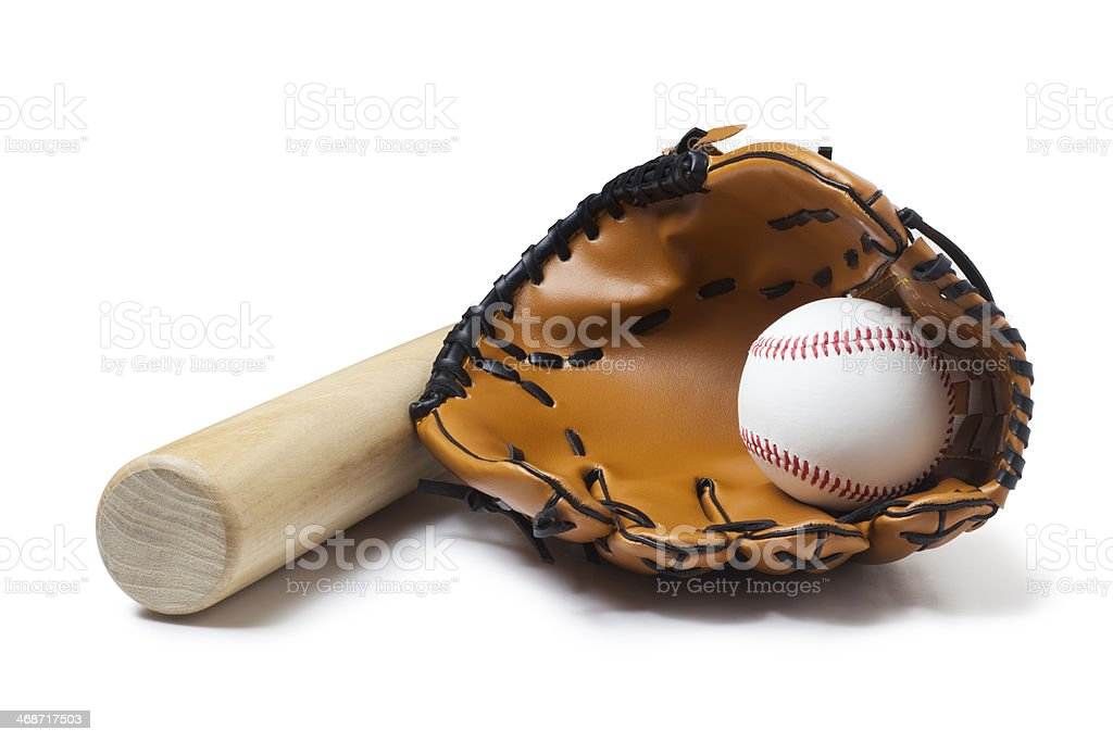 Baseball glove, bat and ball isolate on white background