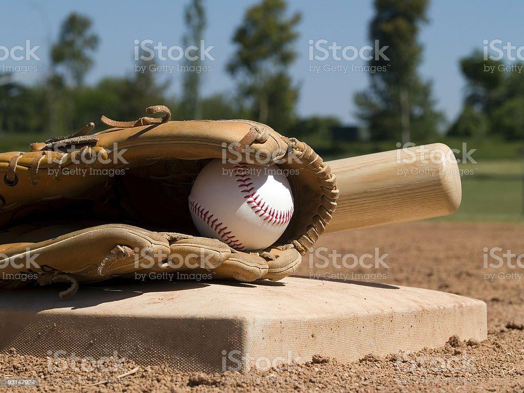 Baseball Glove, Bat and Ball royalty-free stock photo