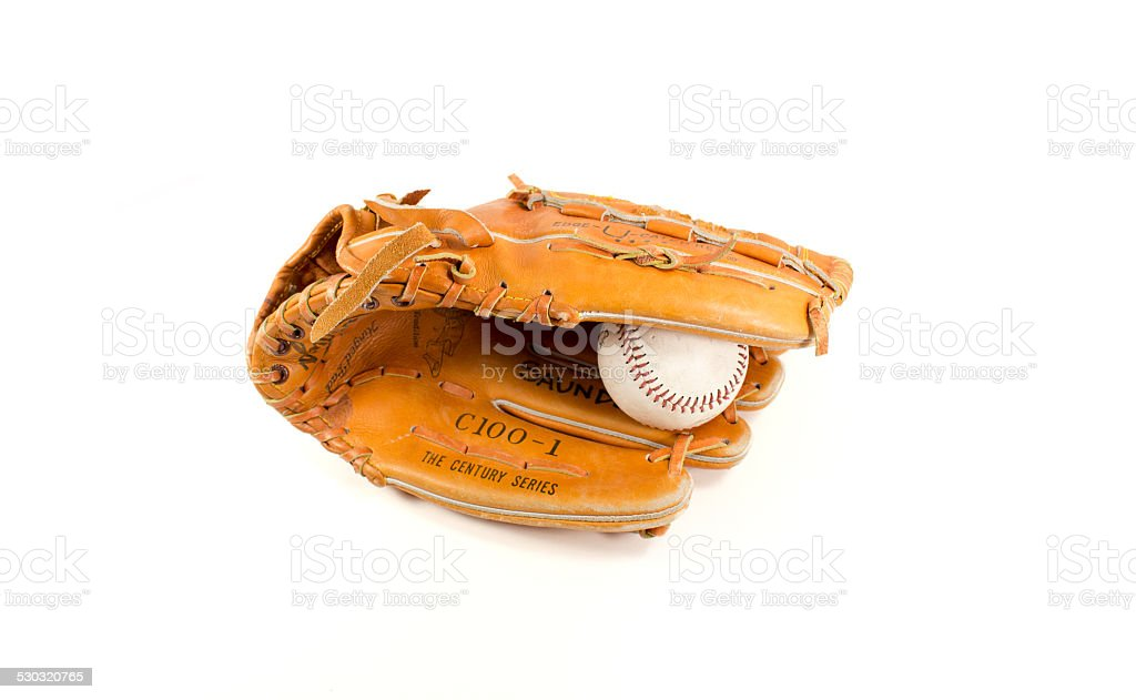 Baseball Glove with ball stock photo
