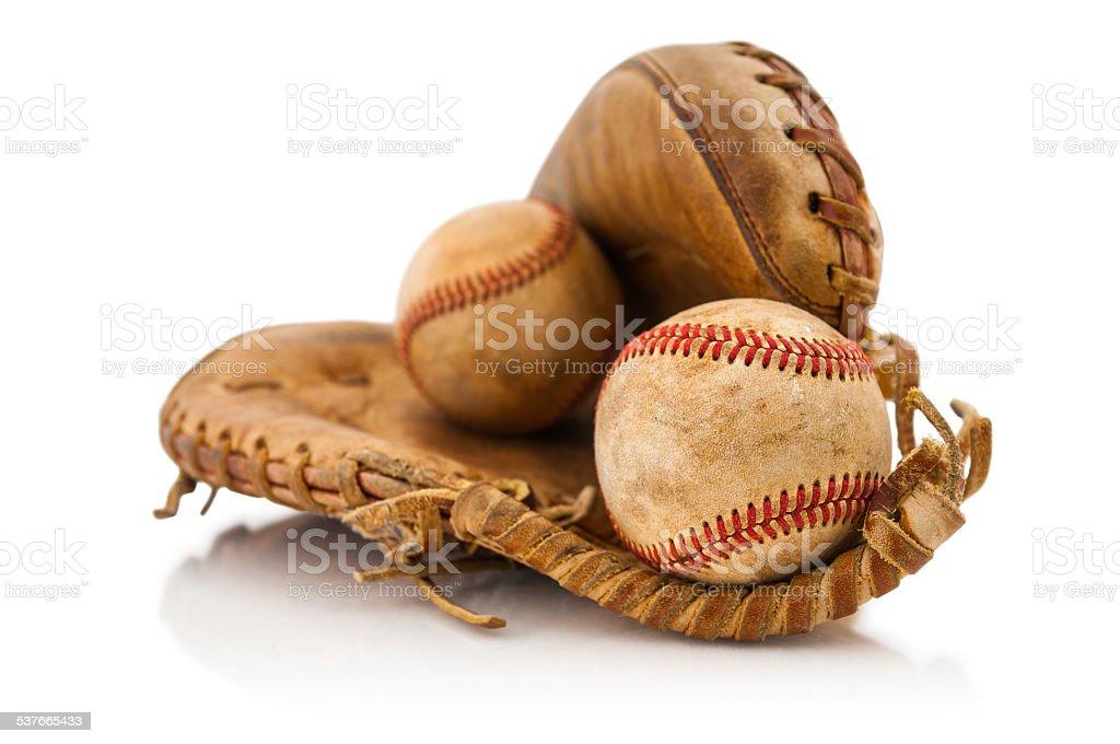 Baseball glove with balls stock photo