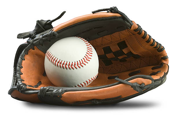 baseball glove with path - sports glove stock photos and pictures