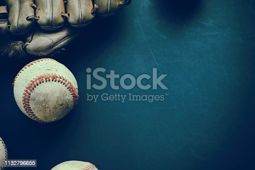 istock Baseball grunge background with ball and glove. 1132796655