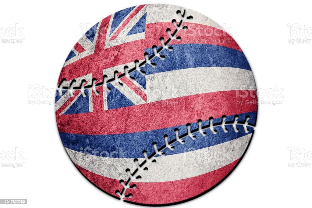 Bandeira de estado de Havaí beisebol. Bandeira de Havaí fundo Baseball - foto de acervo