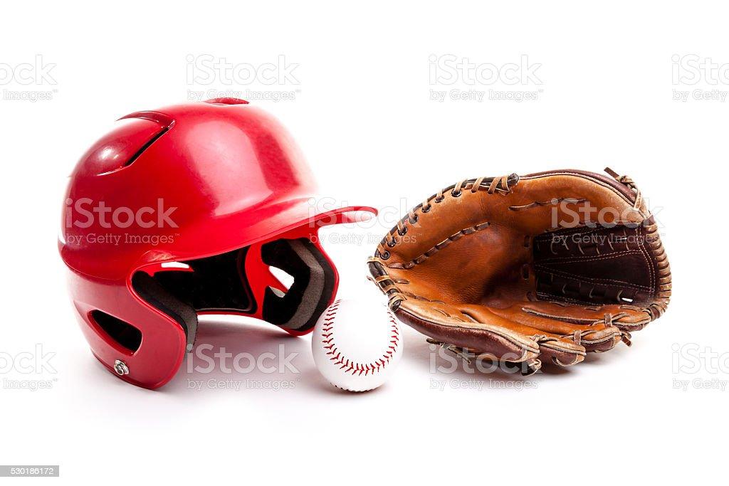 Baseball Helmet, Glove and Ball on White Background royalty-free stock photo